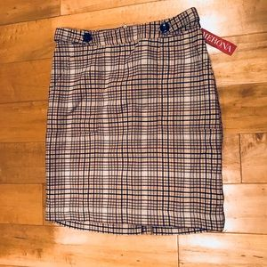Marina Beige Plaid Skirt